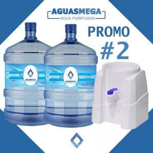 Promocion 2 botellones y dispensador Agua Purificada Aguas Mega