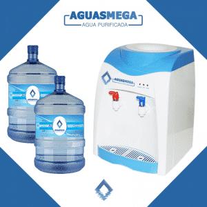 portada de promocion de dispensador más dos botellones de 20 litros de Agua Purificada Aguas Mega