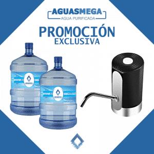 portada promocion dispensador usb y 2 botellones Agua Purificada Aguas Mega